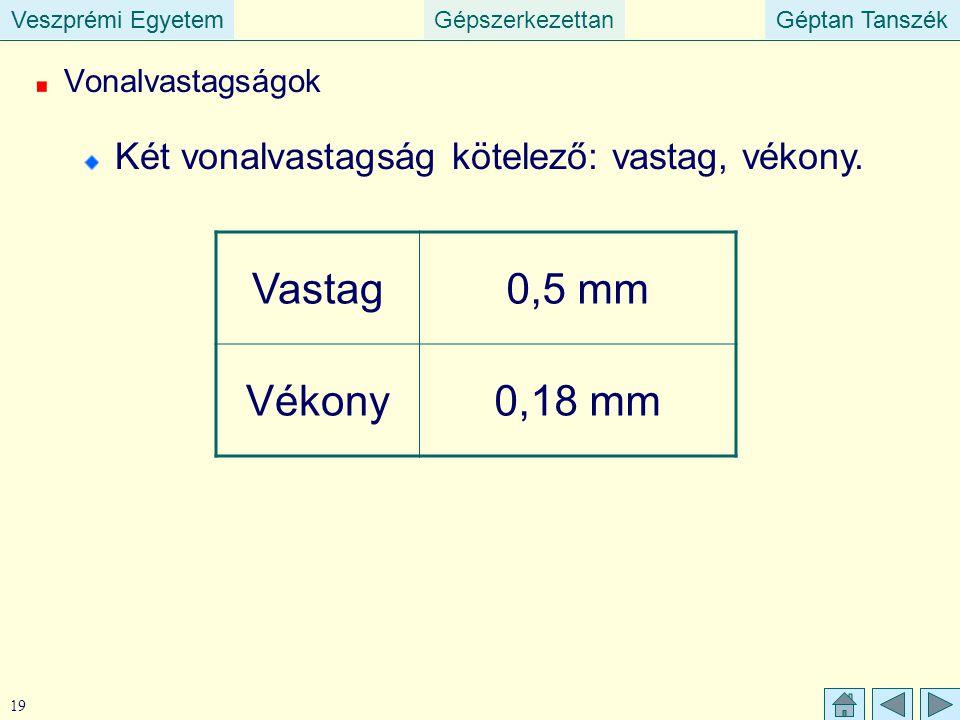 Veszprémi EgyetemGépszerkezettanGéptan TanszékVeszprémi EgyetemGéptan Tanszék 19 Vonalvastagságok Két vonalvastagság kötelező: vastag, vékony. Vastag0