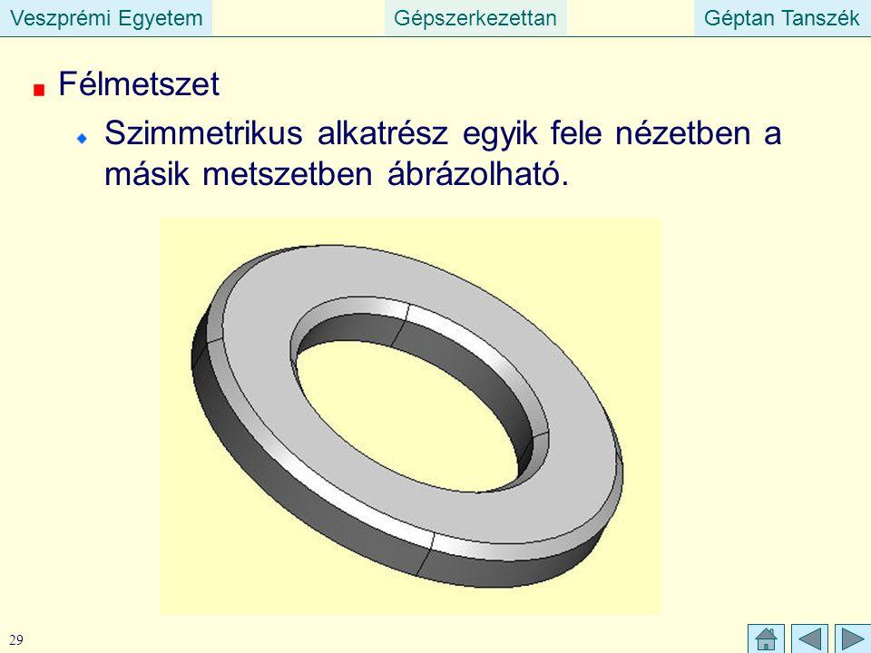 Veszprémi EgyetemGépszerkezettanGéptan TanszékVeszprémi EgyetemGéptan Tanszék 29 Félmetszet Szimmetrikus alkatrész egyik fele nézetben a másik metszet