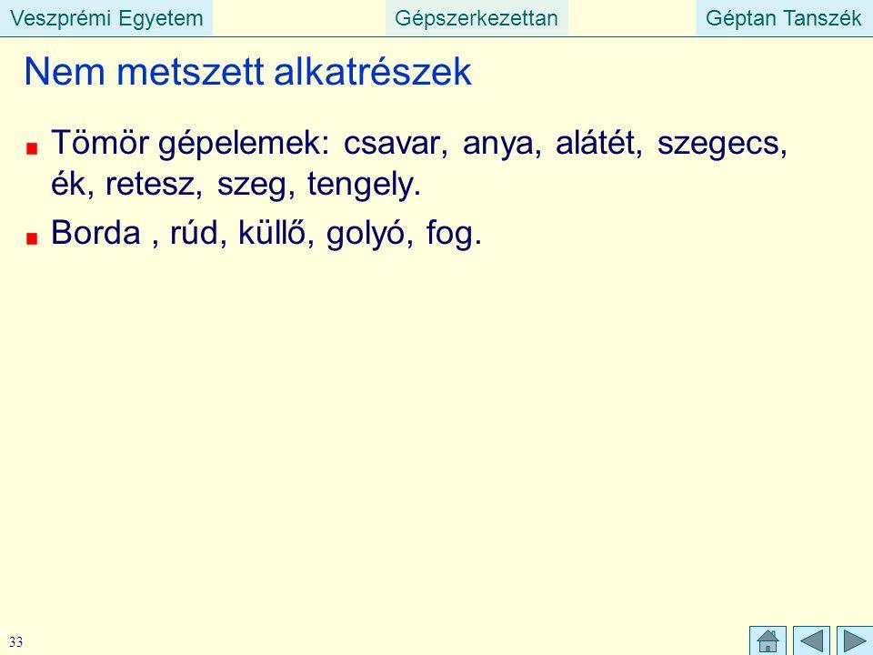 Veszprémi EgyetemGépszerkezettanGéptan TanszékVeszprémi EgyetemGéptan Tanszék 33 Nem metszett alkatrészek Tömör gépelemek: csavar, anya, alátét, szege