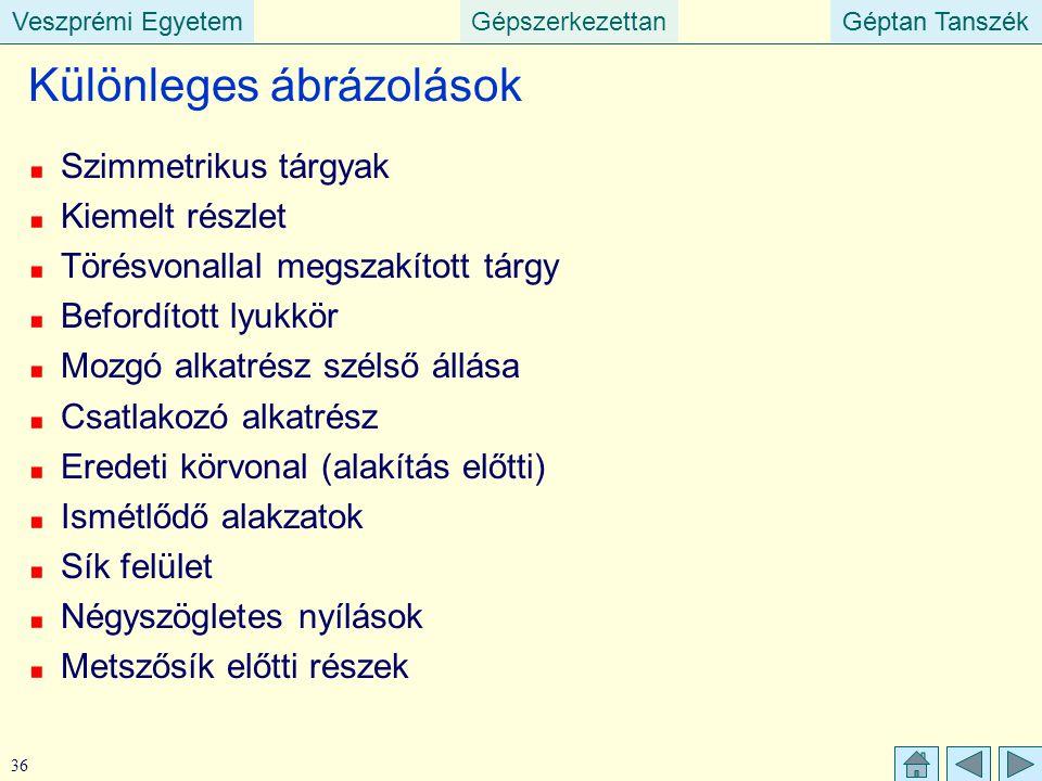 Veszprémi EgyetemGépszerkezettanGéptan TanszékVeszprémi EgyetemGéptan Tanszék 36 Különleges ábrázolások Szimmetrikus tárgyak Kiemelt részlet Törésvona