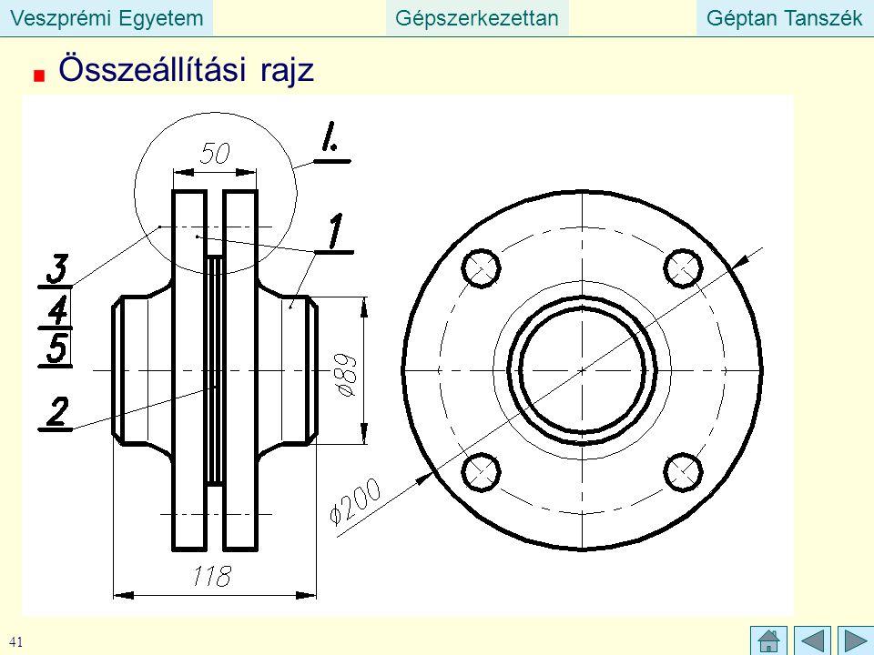 Veszprémi EgyetemGépszerkezettanGéptan TanszékVeszprémi EgyetemGéptan Tanszék 41 Összeállítási rajz