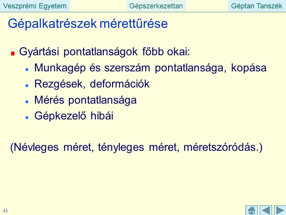 Veszprémi EgyetemGépszerkezettanGéptan TanszékVeszprémi EgyetemGéptan Tanszék 43 Gépalkatrészek mérettűrése Gyártási pontatlanságok főbb okai: Munkagé