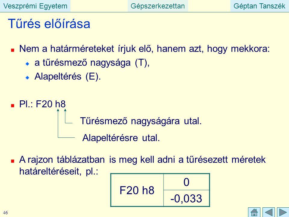 Veszprémi EgyetemGépszerkezettanGéptan TanszékVeszprémi EgyetemGéptan Tanszék 46 Tűrés előírása Nem a határméreteket írjuk elő, hanem azt, hogy mekkor