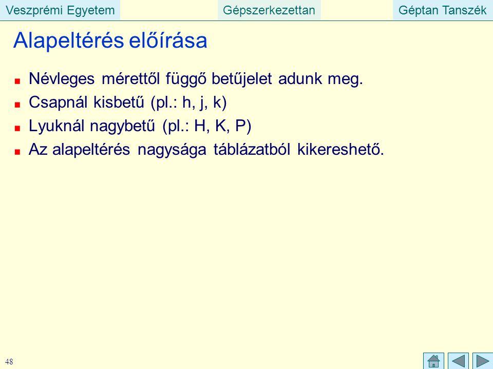 Veszprémi EgyetemGépszerkezettanGéptan TanszékVeszprémi EgyetemGéptan Tanszék 48 Alapeltérés előírása Névleges mérettől függő betűjelet adunk meg. Csa