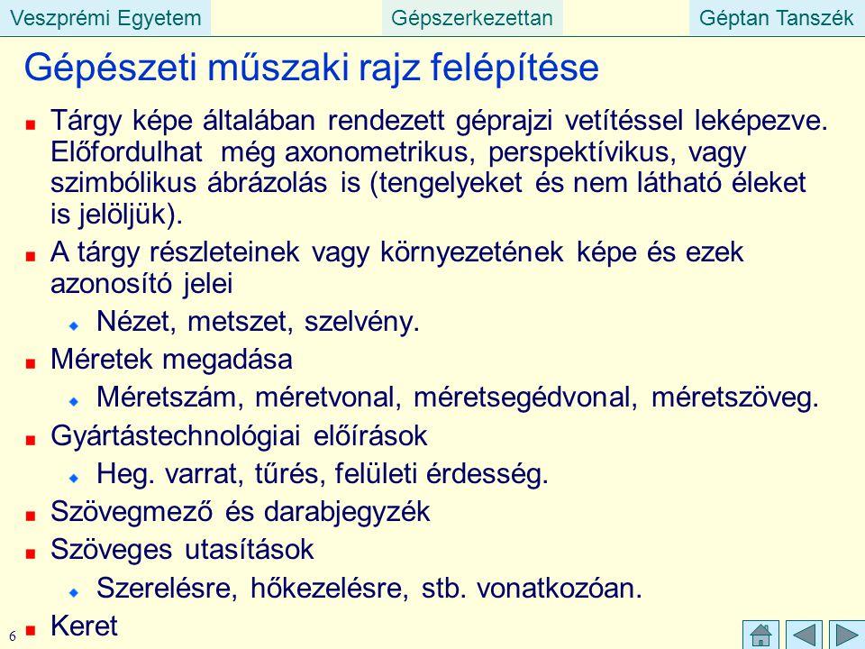 Veszprémi EgyetemGépszerkezettanGéptan TanszékVeszprémi EgyetemGéptan Tanszék 17 Gépészeti rajzok formai (alaki) követelményei Rajzlapméretek