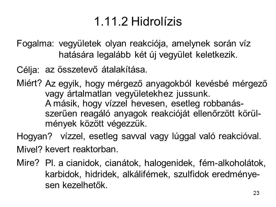 1.11.2 Hidrolízis Fogalma: Célja: Miért.Hogyan. Mivel.