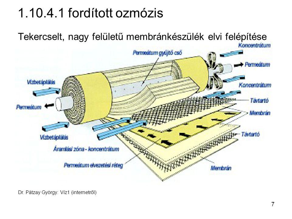 szennyvíz 1.11.7 Ioncsere Két ütem: 1.ütem: ioncsere 2.ütem: regenerálás kation-cserélő savval anion-cserélő lúggal előkezelt víz CO 2 + levegő kation- cserélő anion- cserélő ioncserélt víz levegő regene- ráló sav regene- ráló lúg 48