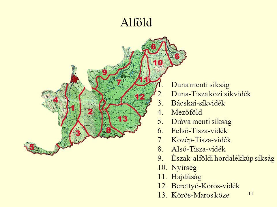 11 Alföld 1.Duna menti síkság 2.Duna-Tisza közi síkvidék 3.Bácskai-síkvidék 4.Mezőföld 5.Dráva menti síkság 6.Felső-Tisza-vidék 7.Közép-Tisza-vidék 8.