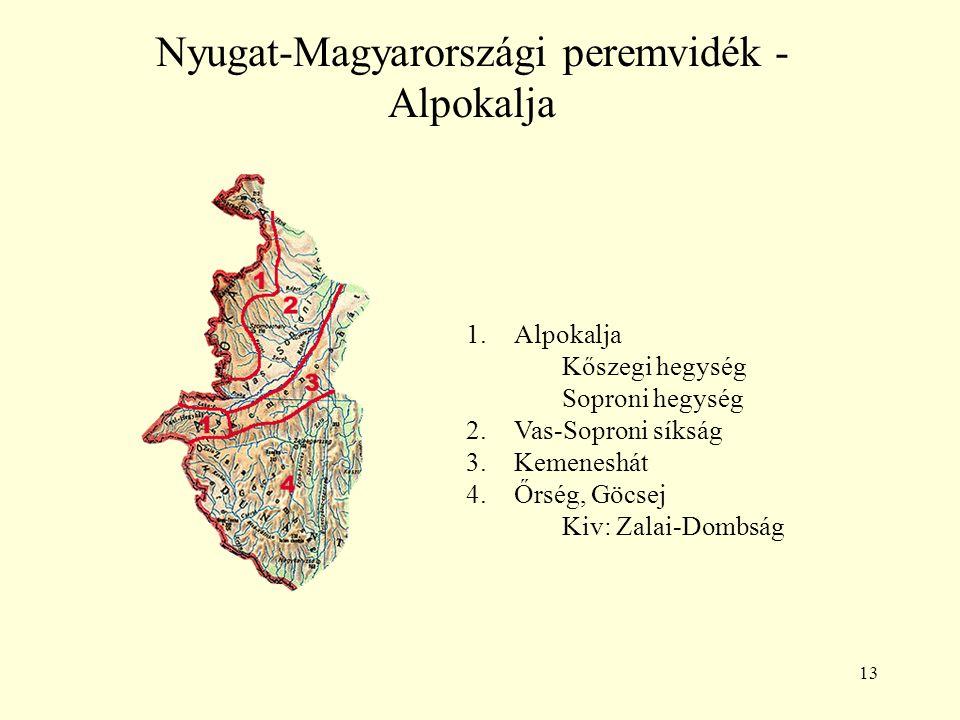 13 Nyugat-Magyarországi peremvidék - Alpokalja 1.Alpokalja Kőszegi hegység Soproni hegység 2.Vas-Soproni síkság 3.Kemeneshát 4.Őrség, Göcsej Kiv: Zala