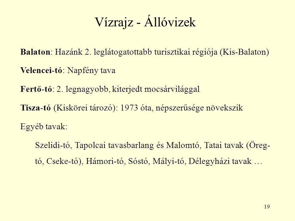 19 Vízrajz - Állóvizek Balaton: Hazánk 2. leglátogatottabb turisztikai régiója (Kis-Balaton) Velencei-tó: Napfény tava Fertő-tó: 2. legnagyobb, kiterj