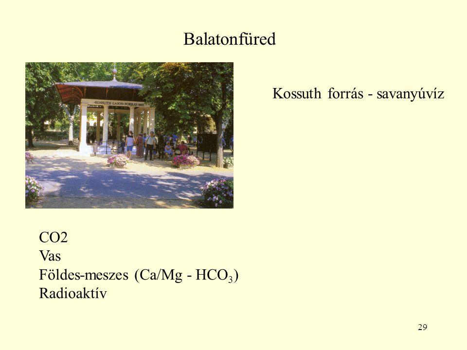29 Balatonfüred Kossuth forrás - savanyúvíz CO2 Vas Földes-meszes (Ca/Mg - HCO 3 ) Radioaktív