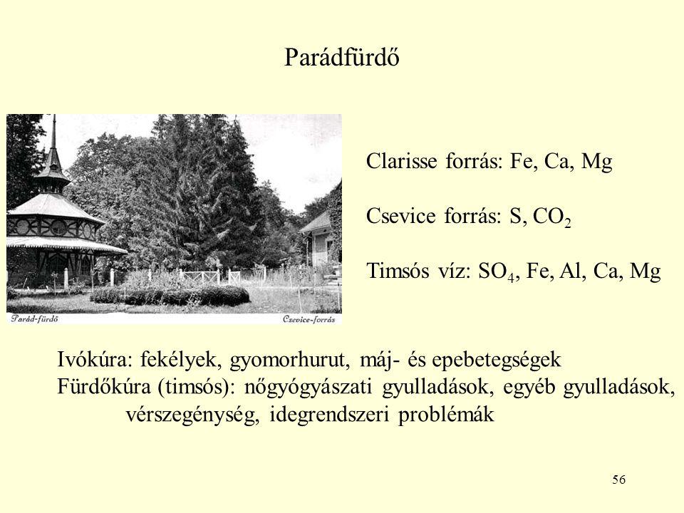 56 Parádfürdő Clarisse forrás: Fe, Ca, Mg Csevice forrás: S, CO 2 Timsós víz: SO 4, Fe, Al, Ca, Mg Ivókúra: fekélyek, gyomorhurut, máj- és epebetegség