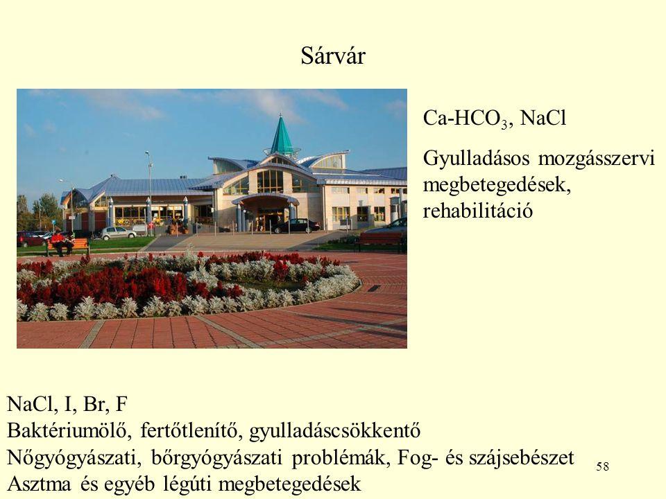 58 Sárvár Ca-HCO 3, NaCl Gyulladásos mozgásszervi megbetegedések, rehabilitáció NaCl, I, Br, F Baktériumölő, fertőtlenítő, gyulladáscsökkentő Nőgyógyá