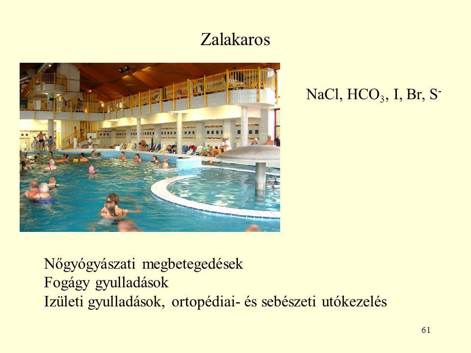 61 Zalakaros NaCl, HCO 3, I, Br, S - Nőgyógyászati megbetegedések Fogágy gyulladások Izületi gyulladások, ortopédiai- és sebészeti utókezelés