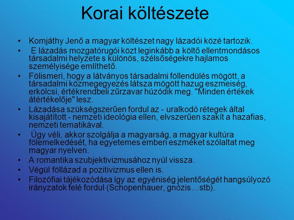 Korai költészete Komjáthy Jenő a magyar költészet nagy lázadói közé tartozik. E lázadás mozgatórugói közt leginkább a költő ellentmondásos társadalmi