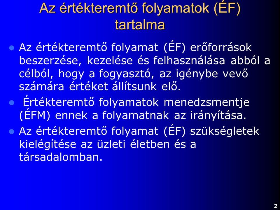 Termelés Szolgáltatás Logisztika F o g y a s z t ó A termelés, a szolgáltatás és a logisztika összekapcsolódása 13