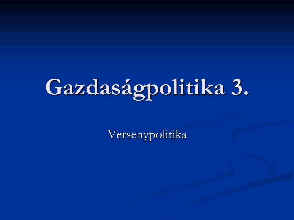Gazdaságpolitika 3. Versenypolitika