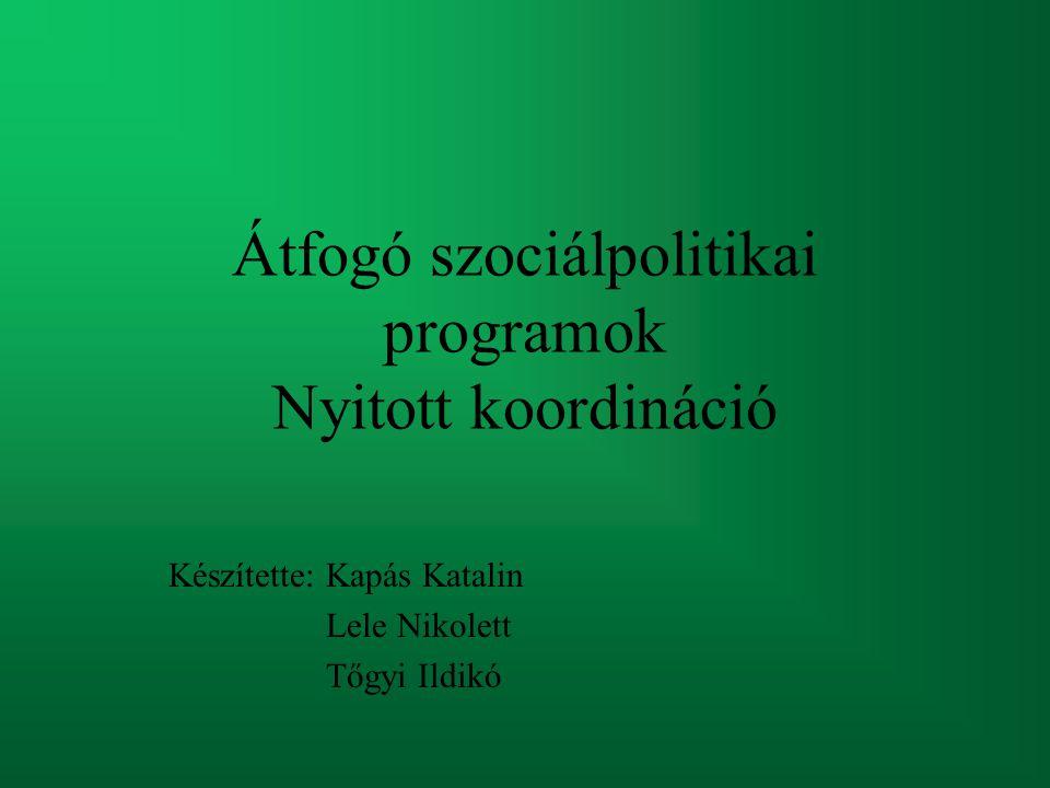 Átfogó szociálpolitikai programok Nyitott koordináció Készítette: Kapás Katalin Lele Nikolett Tőgyi Ildikó