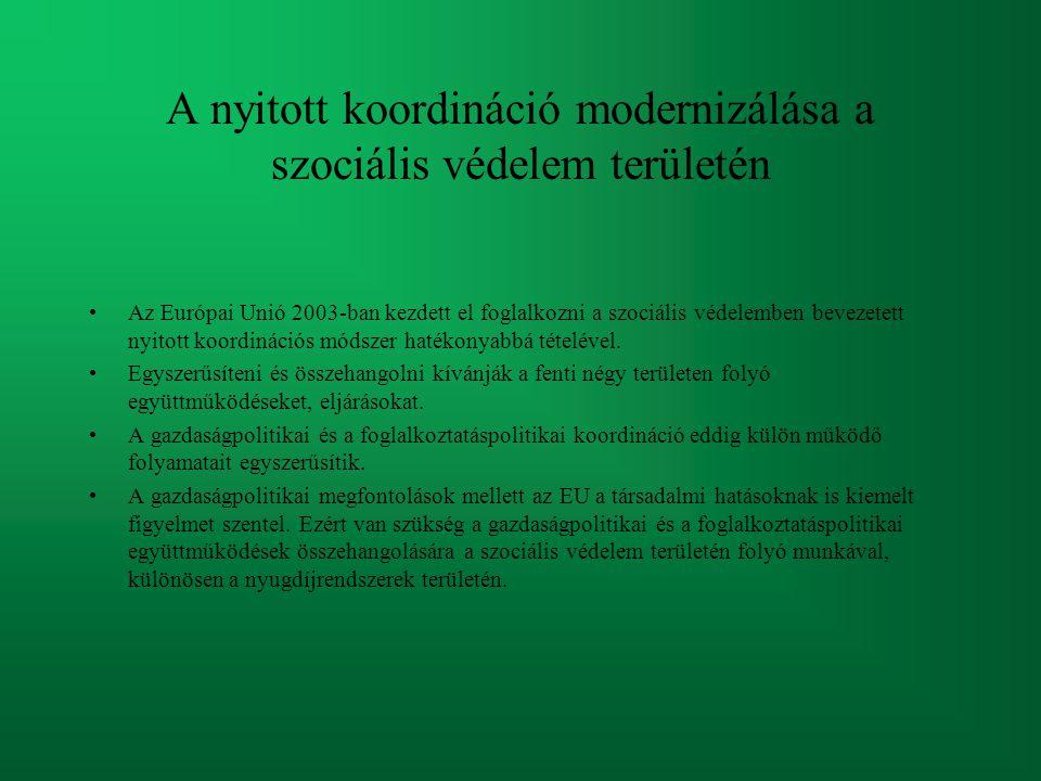 A nyitott koordináció modernizálása a szociális védelem területén Az Európai Unió 2003-ban kezdett el foglalkozni a szociális védelemben bevezetett ny