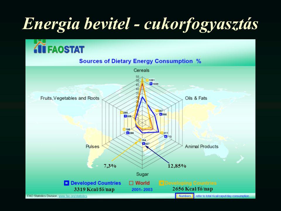 Energia bevitel - cukorfogyasztás 12,85%7,3% 3319 Kcal/fő/nap 2656 Kcal/fő/nap
