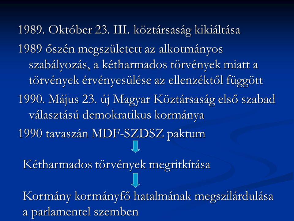 1989. Október 23. III. köztársaság kikiáltása 1989 őszén megszületett az alkotmányos szabályozás, a kétharmados törvények miatt a törvények érvényesül