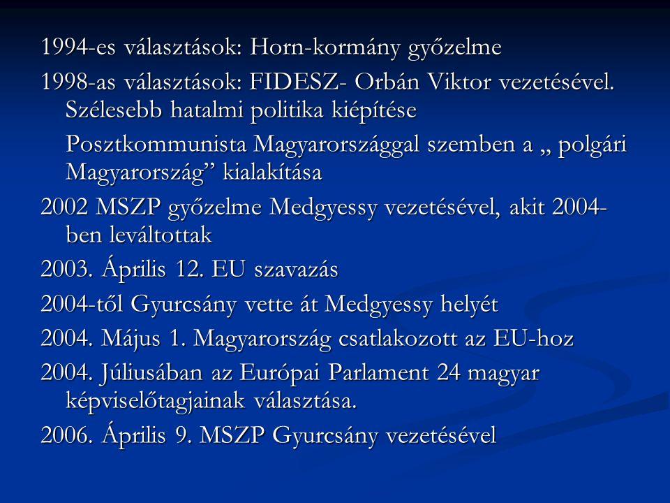 1994-es választások: Horn-kormány győzelme 1998-as választások: FIDESZ- Orbán Viktor vezetésével. Szélesebb hatalmi politika kiépítése Posztkommunista