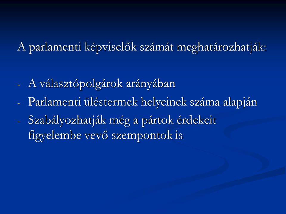 A parlamenti képviselők számát meghatározhatják: - A választópolgárok arányában - Parlamenti üléstermek helyeinek száma alapján - Szabályozhatják még