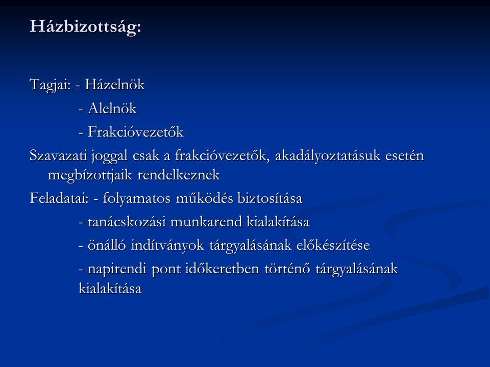 Házbizottság: Tagjai: - Házelnök - Alelnök - Frakcióvezetők Szavazati joggal csak a frakcióvezetők, akadályoztatásuk esetén megbízottjaik rendelkeznek