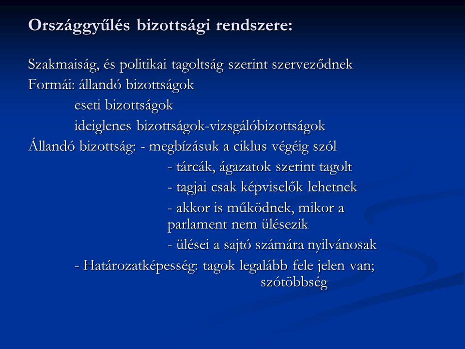 Országgyűlés bizottsági rendszere: Szakmaiság, és politikai tagoltság szerint szerveződnek Formái: állandó bizottságok eseti bizottságok ideiglenes bi