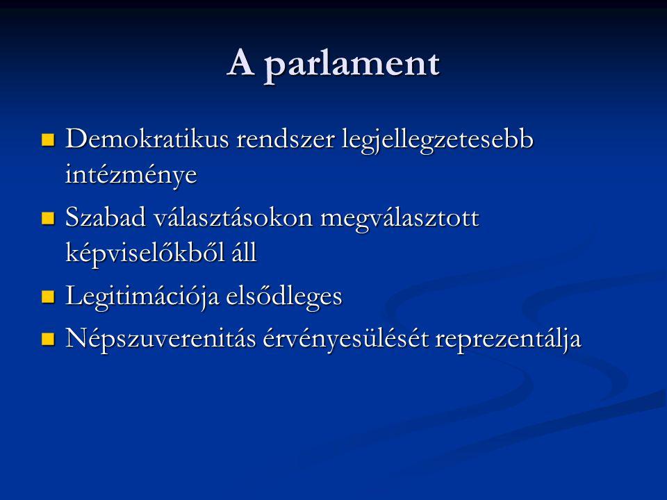 Országgyűlés bizottsági rendszere: Szakmaiság, és politikai tagoltság szerint szerveződnek Formái: állandó bizottságok eseti bizottságok ideiglenes bizottságok-vizsgálóbizottságok Állandó bizottság: - megbízásuk a ciklus végéig szól - tárcák, ágazatok szerint tagolt - tagjai csak képviselők lehetnek - akkor is működnek, mikor a parlament nem ülésezik - ülései a sajtó számára nyilvánosak - Határozatképesség: tagok legalább fele jelen van; szótöbbség