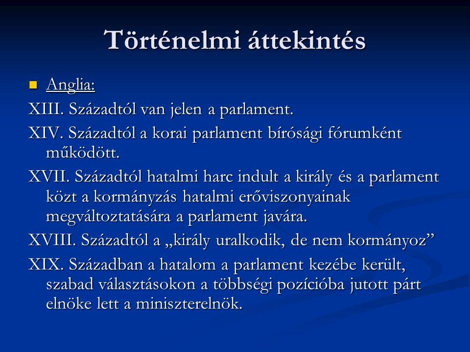 Parlament funkciói: Törvényhozás funkciója: - Parlament fő funkciója - Törvényhozási tárgyak típusai: alapjogi törvények Alkotmány Szervezeti törvények Költségvetési törvények - Törvénykezdeményezési joga van: Köztársasági elnök Kormány Országgyűlési Bizottságok Országgyűlési Képviselők