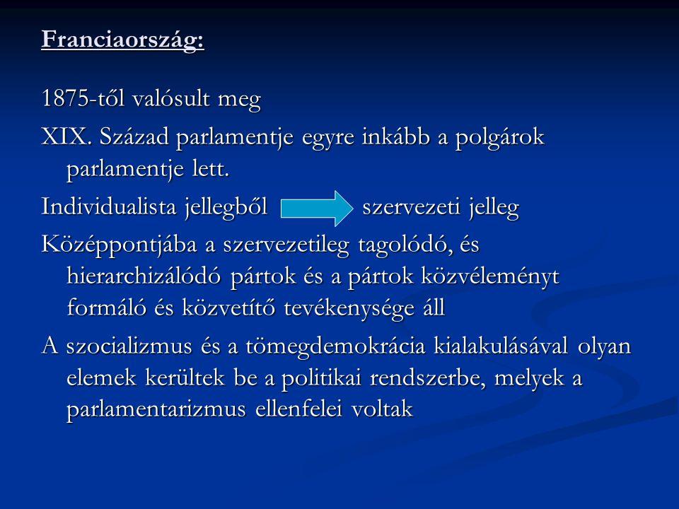 Magyarország parlamentarizmusának szakaszai: 1848 áprilisi törvények: Personalunió O-M Monarchia: az uralkodónak előszentesítési joga volt 1920-tól: az államforma király nélküli királyság Horthyt kormányzónak választották Horthy-korszak: olyan jogelemek épültek be a rendszerbe, melyek korlátozták az alapvető demokratikus elvek működését A nemzetgyűlés jogköre 1927-től kétkamarás rendszer, jogköre kitágult Korlátozott parlamentarizmus: kormányzás rendeleti úton történik, választási rendszere biztosítja a kormánypárt abszolút többségét 1930-as években a kormánygyűlés olyan széleskörű jogokhoz jutott, hogy a parlament ellenőrző feladata minimálisra csökkent 1938-tól a felsőházat megilleti a törvénykezdeményezés joga