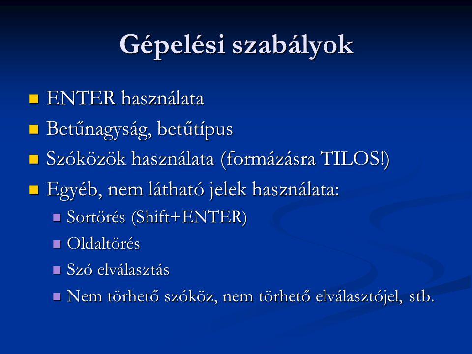 Gépelési szabályok ENTER használata ENTER használata Betűnagyság, betűtípus Betűnagyság, betűtípus Szóközök használata (formázásra TILOS!) Szóközök ha