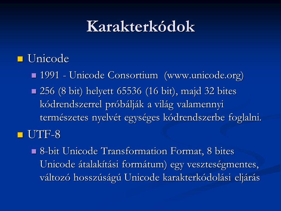 Karakterkódok Unicode Unicode 1991 - Unicode Consortium (www.unicode.org) 1991 - Unicode Consortium (www.unicode.org) 256 (8 bit) helyett 65536 (16 bi