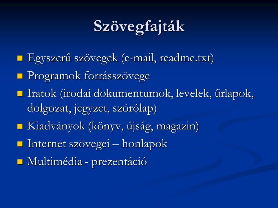 Szövegfajták Egyszerű szövegek (e-mail, readme.txt) Egyszerű szövegek (e-mail, readme.txt) Programok forrásszövege Programok forrásszövege Iratok (iro