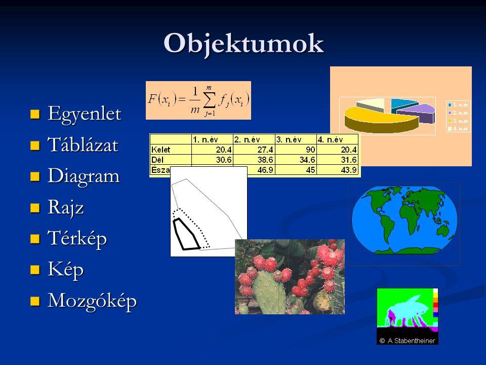 Objektumok Egyenlet Egyenlet Táblázat Táblázat Diagram Diagram Rajz Rajz Térkép Térkép Kép Kép Mozgókép Mozgókép