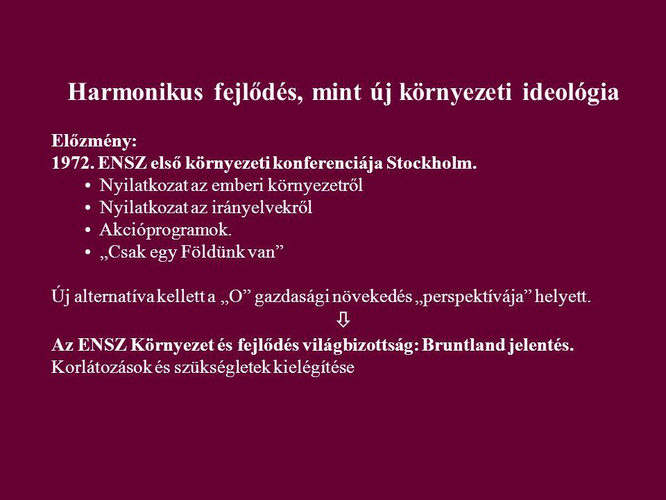 Harmonikus fejlődés, mint új környezeti ideológia Előzmény: 1972.