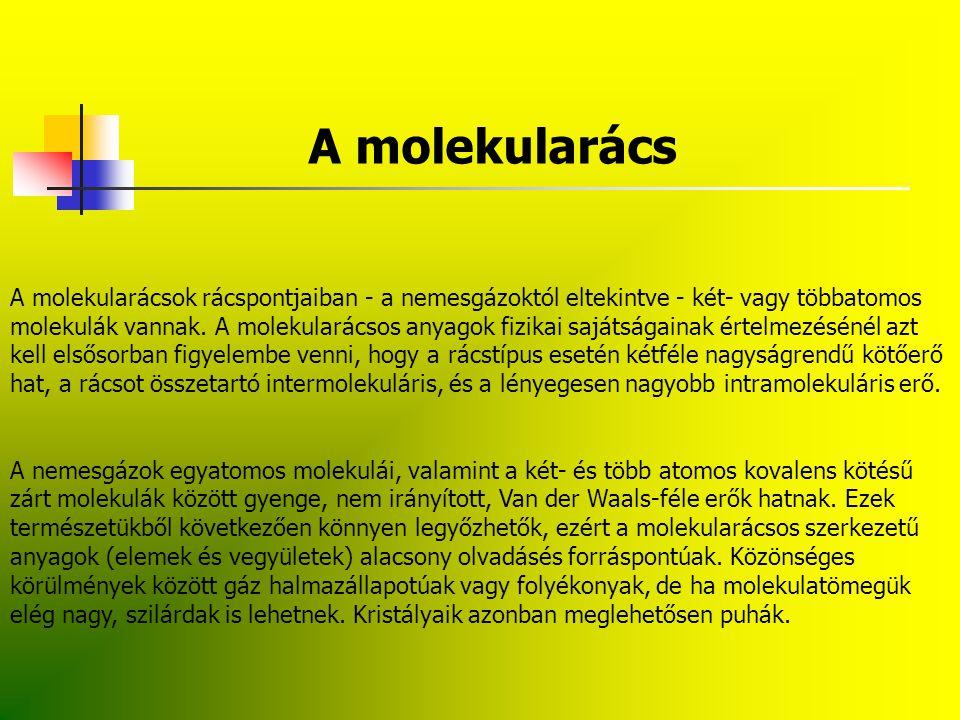 A molekularács A molekularácsok rácspontjaiban - a nemesgázoktól eltekintve - két- vagy többatomos molekulák vannak. A molekularácsos anyagok fizikai