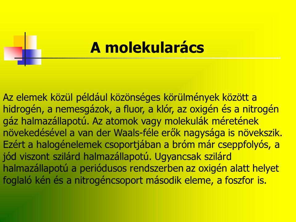 Az atomrács Amíg a kovalens molekulákból felépített molekurácsos kristályokban másodlagos kötőerők hatnak, az atomrácsos anyagokban kovalens, irányított erők tartják össze az atomokat.