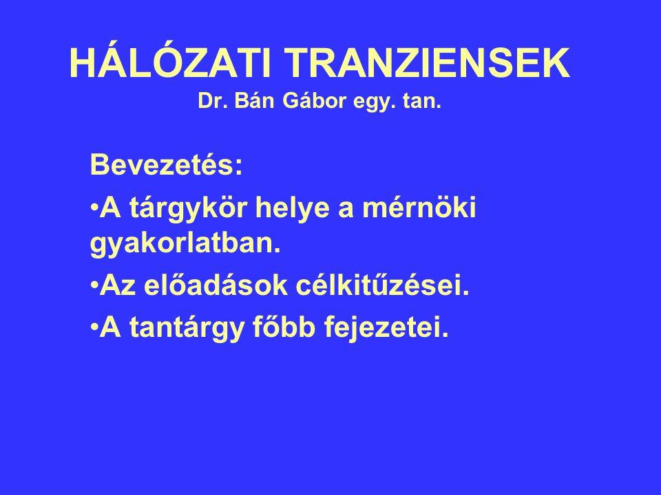 HÁLÓZATI TRANZIENSEK Dr.Bán Gábor egy. tan. Bevezetés: A tárgykör helye a mérnöki gyakorlatban.