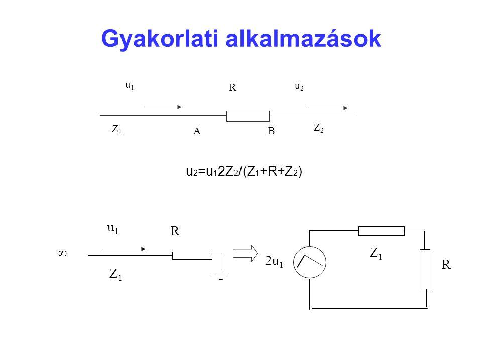 Gyakorlati alkalmazások u1u1 R u2u2 Z1Z1 Z2Z2 AB u 2 =u 1 2Z 2 /(Z 1 +R+Z 2 ) ∞ R Z1Z1 u1u1 2u 1 R Z1Z1