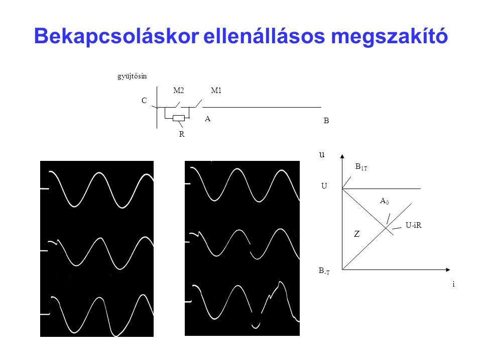 Bekapcsoláskor ellenállásos megszakító gyüjtősín M2M1 R A B C u i U B 1T A0A0 Z U-iR B -T