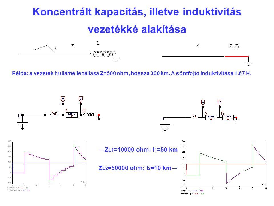 Koncentrált kapacitás, illetve induktivitás vezetékké alakítása Z LZ Z L, T L Példa: a vezeték hullámellenállása Z=500 ohm, hossza 300 km.