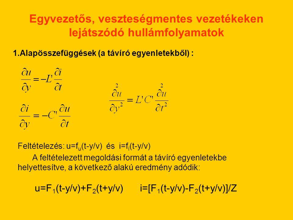 Egyvezetős, veszteségmentes vezetékeken lejátszódó hullámfolyamatok 1.Alapösszefüggések (a távíró egyenletekből) : Feltételezés: u=f u (t-y/v) és i=f i (t-y/v) A feltételezett megoldási formát a távíró egyenletekbe helyettesítve, a következő alakú eredmény adódik: u=F 1 (t-y/v)+F 2 (t+y/v) i=[F 1 (t-y/v)-F 2 (t+y/v)]/Z