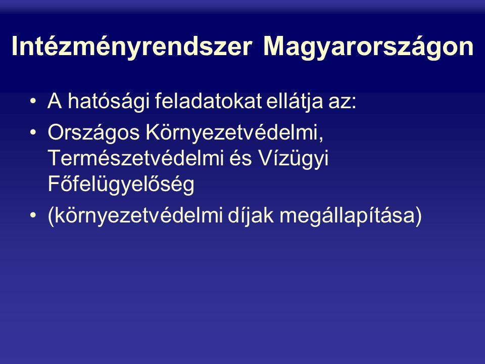 Intézményrendszer Magyarországon A hatósági feladatokat ellátja az: Országos Környezetvédelmi, Természetvédelmi és Vízügyi Főfelügyelőség (környezetvédelmi díjak megállapítása)