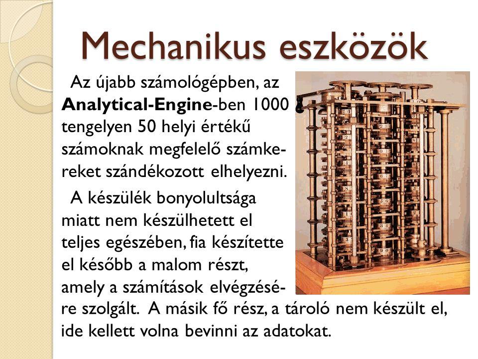 Mechanikus eszközök Az újabb számológépben, az Analytical-Engine-ben 1000 tengelyen 50 helyi értékű számoknak megfelelő számke- reket szándékozott elh