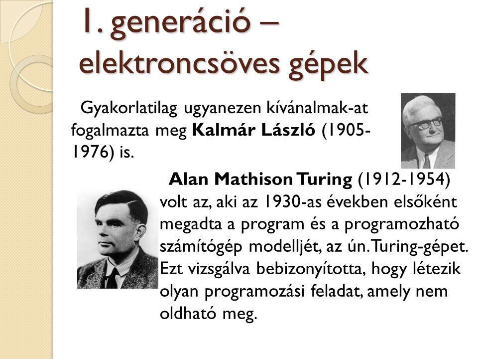Alan Mathison Turing (1912-1954) volt az, aki az 1930-as években elsőként megadta a program és a programozható számítógép modelljét, az ún. Turing-gép