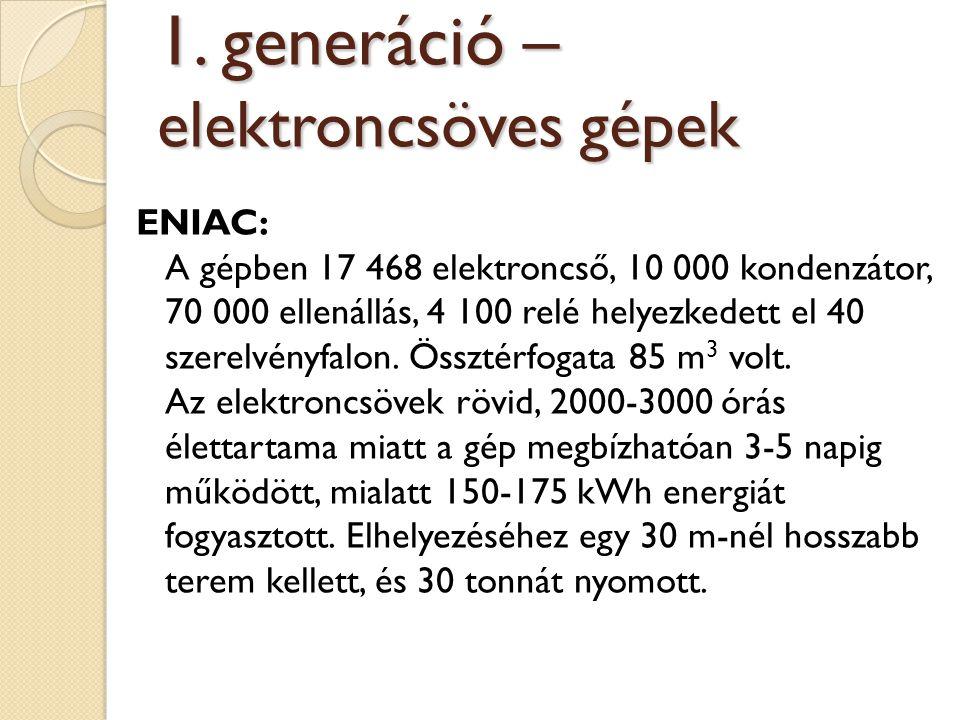 ENIAC: A gépben 17 468 elektroncső, 10 000 kondenzátor, 70 000 ellenállás, 4 100 relé helyezkedett el 40 szerelvényfalon. Össztérfogata 85 m 3 volt. A
