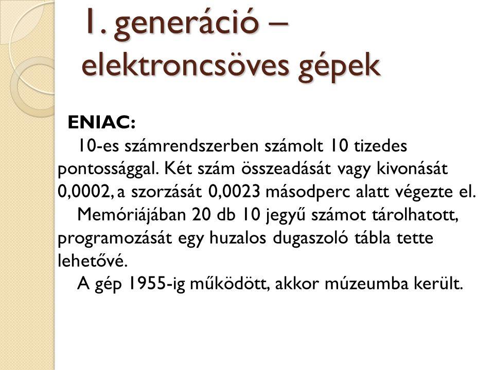 ENIAC: 10-es számrendszerben számolt 10 tizedes pontossággal. Két szám összeadását vagy kivonását 0,0002, a szorzását 0,0023 másodperc alatt végezte e