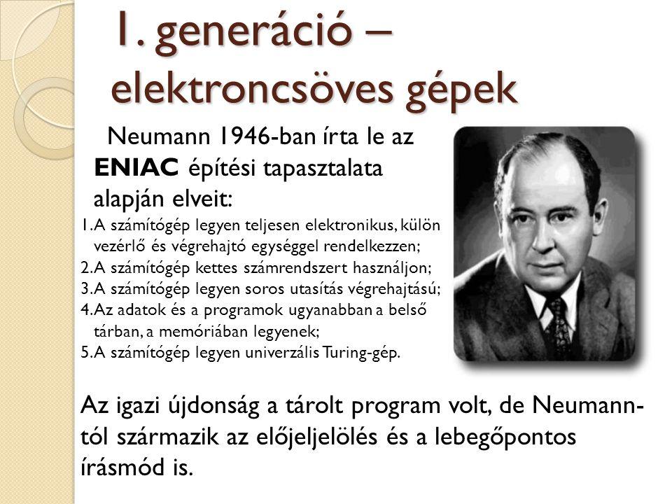 Neumann 1946-ban írta le az ENIAC építési tapasztalata alapján elveit: 1.A számítógép legyen teljesen elektronikus, külön vezérlő és végrehajtó egység